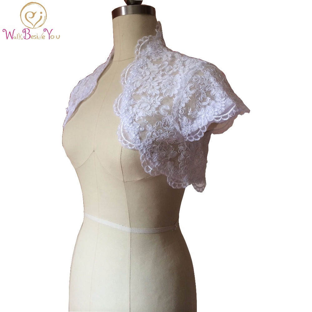 Walk Beside You Wedding Jackets / wrap 2019 Custom Made High Quality Cap Sleeve White Black Bridal Shawls Bolero Lace