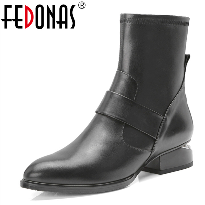 FEDONAS 1Fashion Women Ankle Boots Genuine Leather Autumn Winter Warm Square Heels Shoes Woman Casual Round Toe Martin Boots fedonas 1fashion women ankle boots autumn winter warm high heels shoes woman round toe cross tied genuine leather martin boots