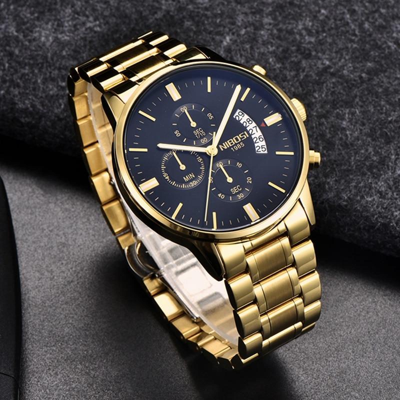 NIBOSI Watch Relogio Masculino Luxury Brand Men's Chronograph Business Watches Men Steel Leather Waterproof Quartz Wristwatch