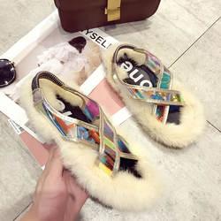 Женские сандалии с кроличьим мехом, летняя модная обувь на плоской подошве, женские меховые сандалии без застежки