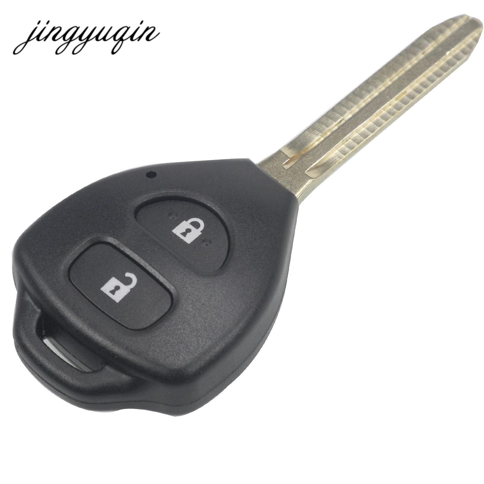 цена на jingyuqin Remote Key Case Shell For TOYOTA Rav4 Corolla Hilux Yaris Avalon Echo Prado TOY43 2 Button Fob