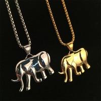 Nuovo Modo di Fascino Animale Elefante Africano In Acciaio Al Titanio Ciondolo Collane Catena A Maglia Cubano Rapper Danza Del Partito degli uomini Dei Monili