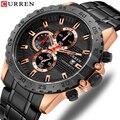 CURREN deportivo relojes de cuarzo de moda reloj de lujo nuevo de acero inoxidable reloj de pulsera deporte cronógrafo reloj hombre