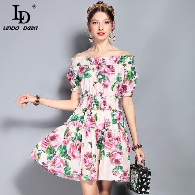 LD LINDA DELLA Fashion Runway Summer Dress Women's Off the Shouder Slash neck Cotton Elegant Rose Floral Print Mini Short Dress
