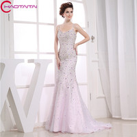Real Photos Pink Wedding Party Dresses Zipper Mermaid Bridal Dress 2017 Sweetheart Beading Crystals Wedding Gown