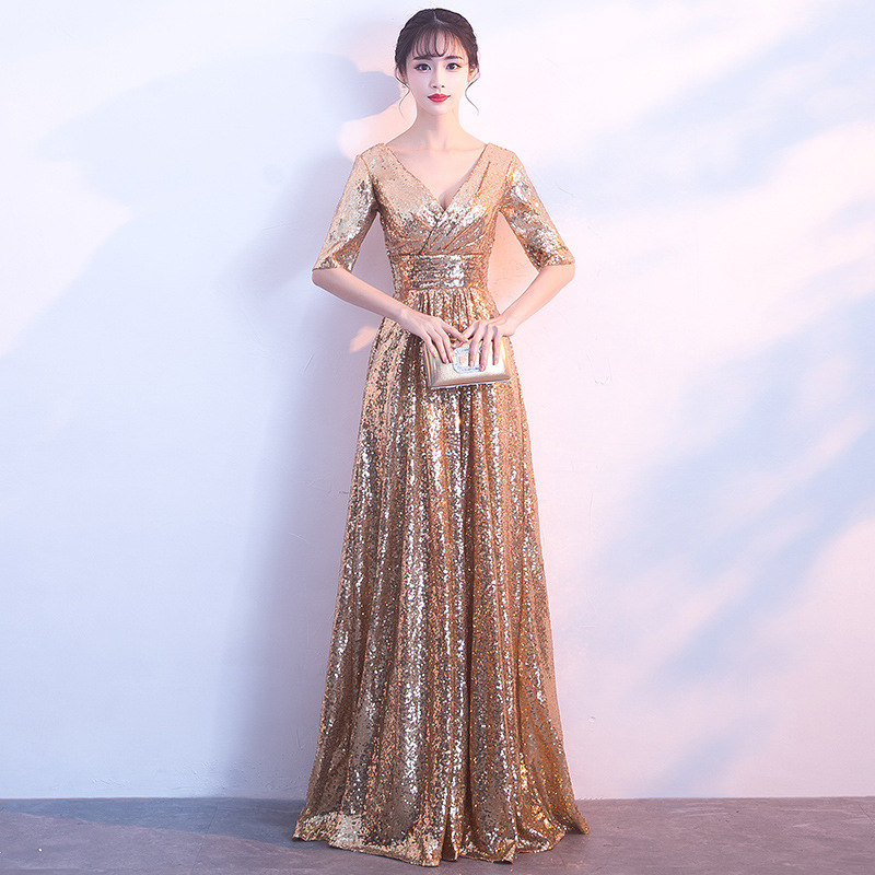 Gold Deep V-Neck Sexy Ladies Evening Party Dress Floor Length Noble Elegant Banquet Gowns Sexy Slim Half Sleeve Vestidos