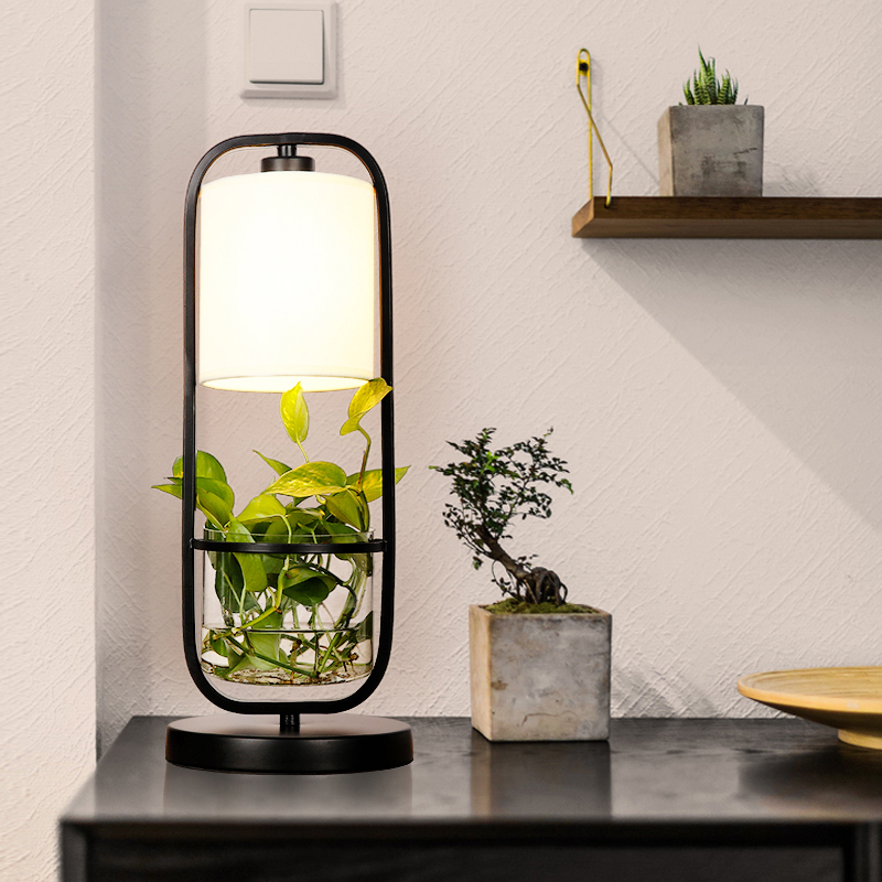 Creative Table Lamp Desk LED lamp Bedside Reading Studying Bedroom Lighting Black Iron Clear Glass LampShade For Living Room T45 fumat stained glass table lamp high quality goddess lamp art collect creative home docor table lamp living room light fixtures