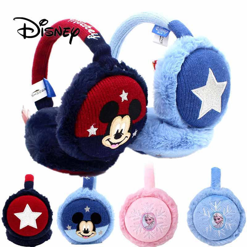 Disney Pretend Play Earmuffs Mickey Minnie Children's Earmuffs Winter Warm Earmuffs Frozen Elsa Princess Pattern Ear Cap