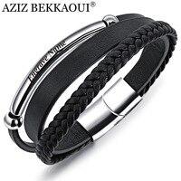 Азиз BEKKAOUI панк черный кожаный браслет для мужчин гравировать имя браслеты из нержавеющей стали Diy браслет из воловьей кожи ювелирные издели...