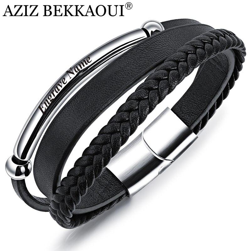 AZIZ BEKKAOUI Punk negro pulsera de cuero para hombres grabado nombre Acero inoxidable pulseras Diy vaca brazalete hombres joyería regalo