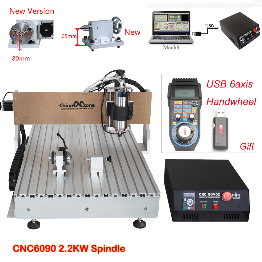 CNC 6090 2.2KW 4axis CNC Router Engraving Drilling Milling Machine Water-Cooled-Spindle PCB Metal Milling Machine Stone Cutter 3 axis cnc 4030 engraving machine 1500w water cooled drilling milling lathe with usb interface