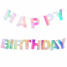 Unicorn Rainbow Happy Birthday Banner Bunting Ray Iridescent Holografic Hologramm Shimmer Shine Party Decorations