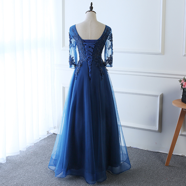 Hot Long Evening Dress Dark Blue Lace Embroidery 3/4 Sleeved Banquet Mother Of The Bride Dresses Robe De Soiree 6