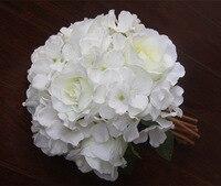 Flor blanca de la boda Artificial de Rose Wedding Bouquet con la flor hortensia hechos a mano para novia y dama de honor 5 colores