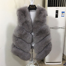 Female natural real fox fur vest asymmetric waistcoat luxury fluffy genuine fur vests for women v-neck elegant fur coat