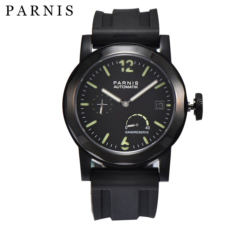 43mm Parnis Casual Black Mechanical Watches Power Reserve Automatic Men Wrist Watch relogio masculino 2018