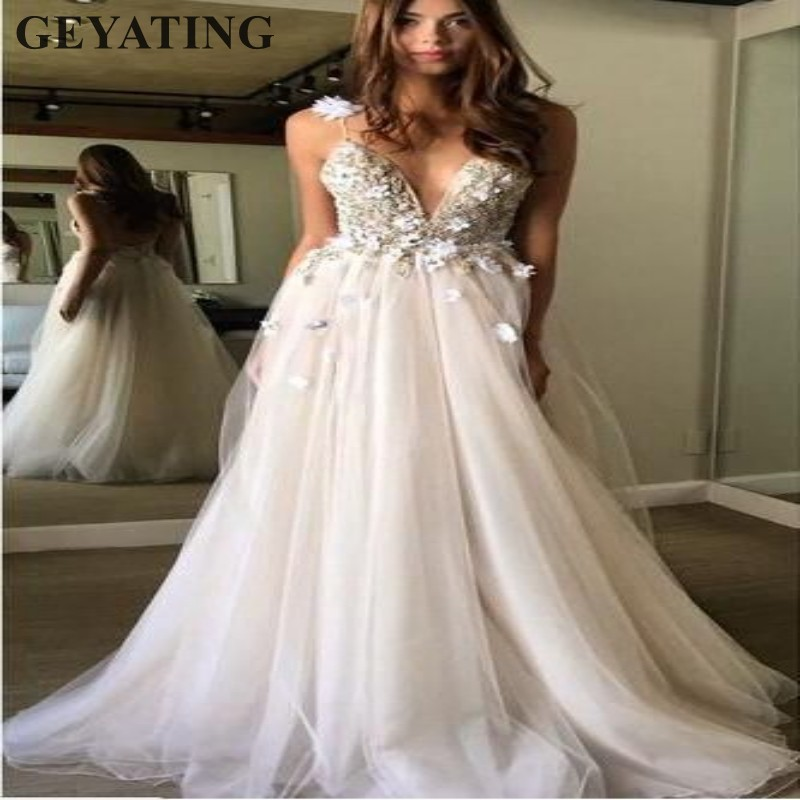 V Neck Beaded Wedding Gowns: Bohemian Beach Wedding Dress 2019 Sexy Spaghetti Straps V
