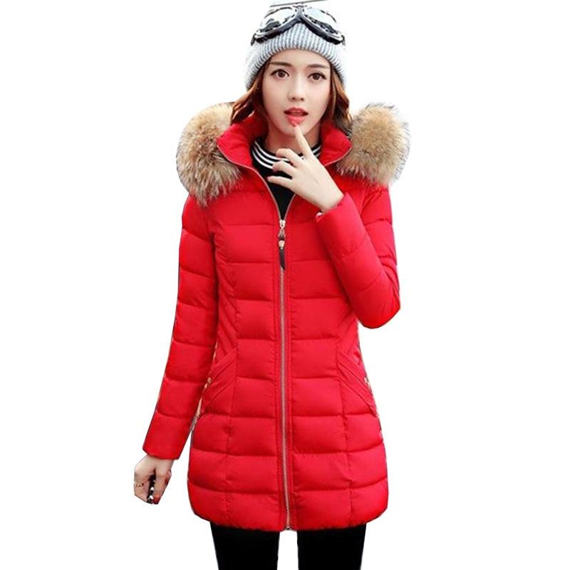 все цены на women winter hooded coat new fur collar plus size 3XL female outerwear parka 2017 ladies warm jacket slim jaqueta feminina 5L35 онлайн
