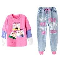 Teenage Girls Clothing Spring Autumn Fashion Kids Long Sleeve Tops + Denim Pants 2pcs Suit Children's Costume Clothes 10 12 Year