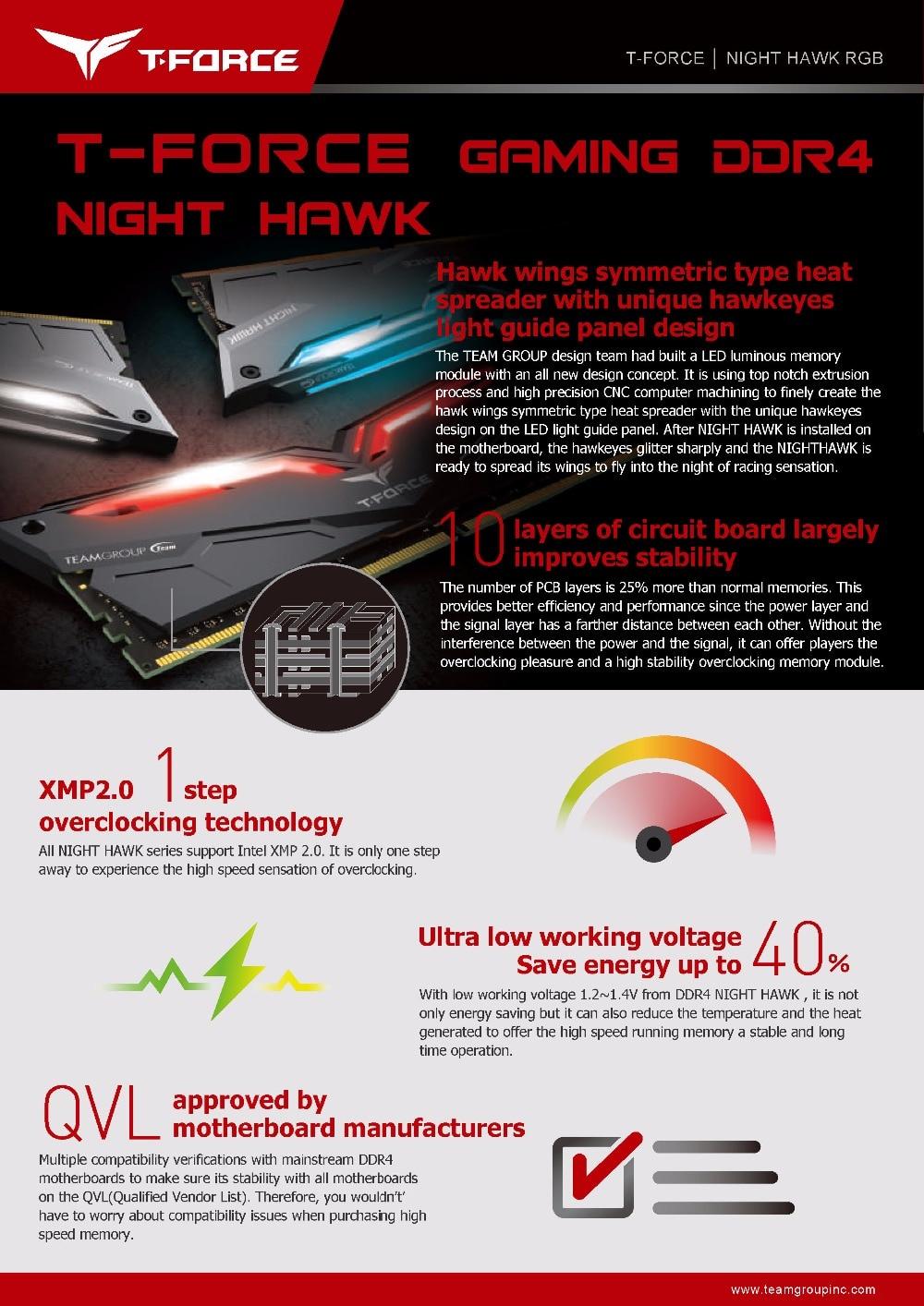 Équipe groupe nuit HAWK RGB DDR4 ordinateur de bureau de mémoire 8G 3000 MHz ordinateur de jeu RAMs 288 broches CL16 LED RAMs de jeu - 5