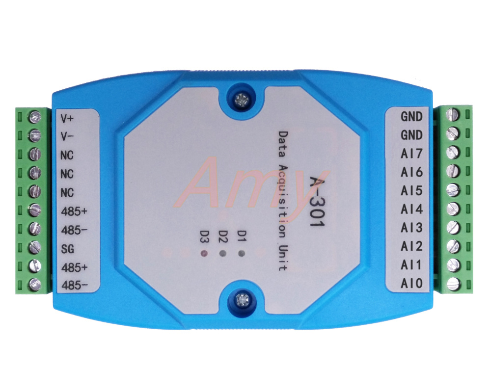 A-301 8 way RS485 current 4~20mA analog input module intelligent monitor remote control terminalA-301 8 way RS485 current 4~20mA analog input module intelligent monitor remote control terminal
