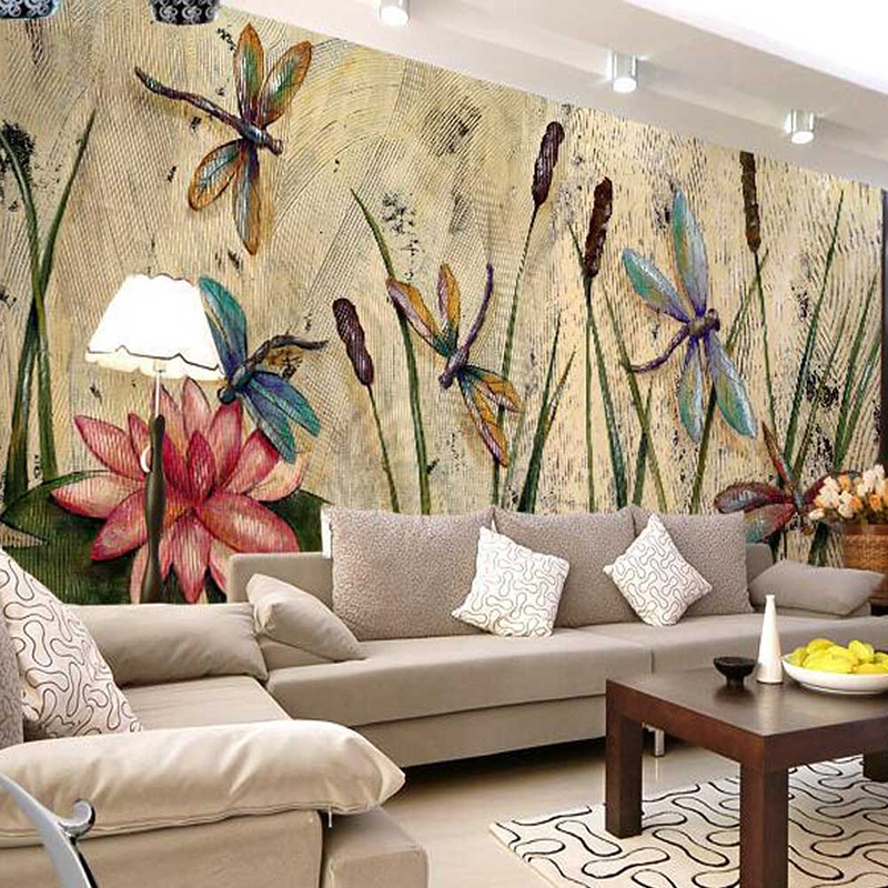 Custom Wall Mural Wallpaper Butterfly Dragonfly Reed Leaves Lotus European Vintage Oil Painting Print Photo Wallpaper Room Decor