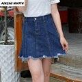 2017 Novas Mulheres Plus Size Verão Vestido Borla Saias Jeans Worn-Out Jeans Curto Saias Europeu e Americano Feminino
