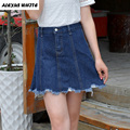 2017 Summer New Plus Size Women Clothed Tassel Denim Skirts Worn-Out Short Jeans European and American Skirts Female