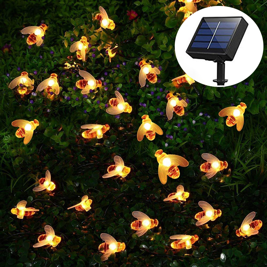 Outdoor Solar Power 20leds 30leds 50leds Bee LED String Lights Waterproof Garden Patio Fence Christmas Party Decorations Lights