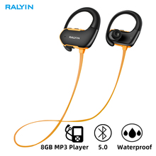 Ralyin waterproof bluetooth earphone with 8GB memeory wireless sport headphone 8 hours headphones