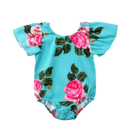 Newborn Toddle Infant Baby Girls Clothes Floral Short Sleeve Bodysuit Cotton Jumpsuit Playsuit Sunsuit Flying Sleeve Baby 0-24M
