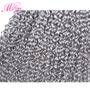 Image 4 - Ms Love Grey Kinky Curly Bundles With Closure Peruvian Hair Bundles With Closure Remy Human Hair Extensions 4*4 Lace Closure