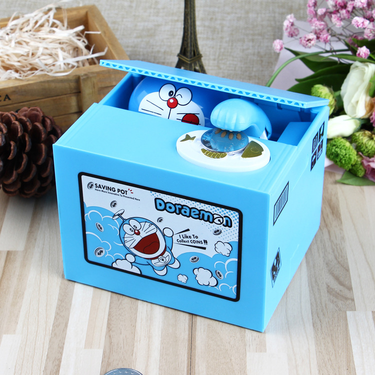 Image 2 - New 2019 Doraemon Brand New Steal Coin Piggy Bank Electronic Plastic Money Safety Box Coin Bank Money boxes-in Anti-theft Lock from Security & Protection