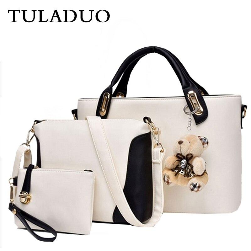 ФОТО Tuladuo Woman 3PCS Ladies Composite Bag Bear Dollar Price Purses And Handbags Sac a Main Crossbody Shoulder Bag Bolsos Shopper