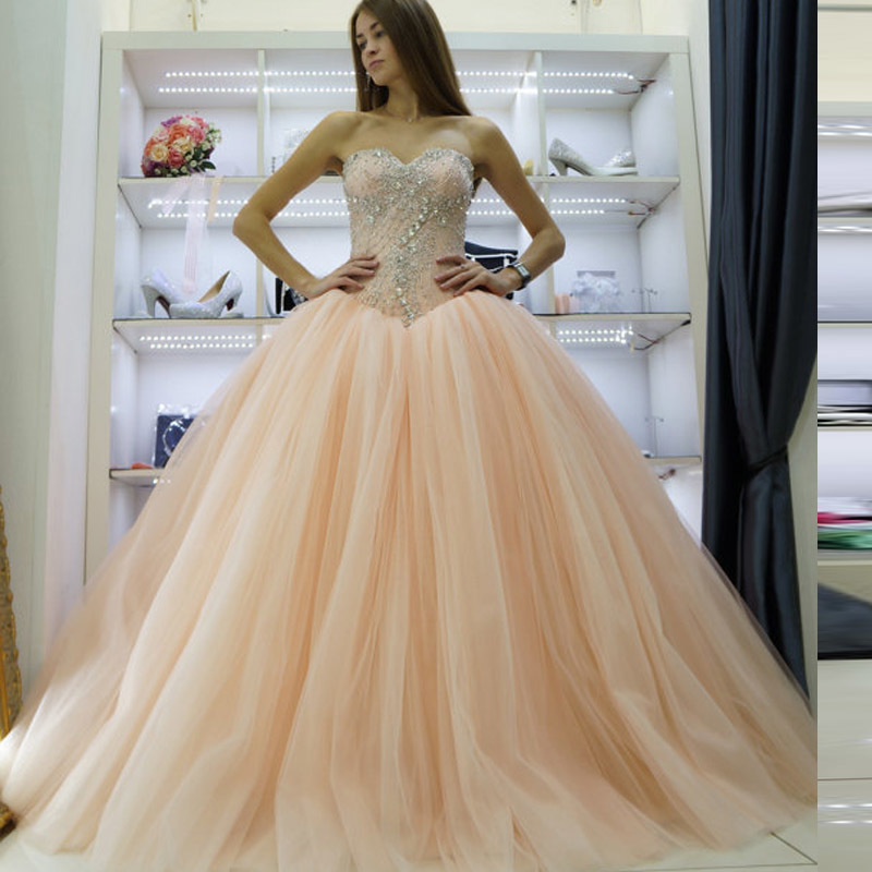 Wedding dress 2017 sweetheart peach color gown princess for Colored wedding dresses 2017