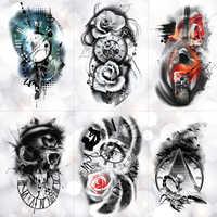 Familie Rose Zeit uhr Schädel Temporäre Tattoo Aufkleber Skorpion Turm Wasserdicht Tattoos Body Art Arm Gefälschte Tatoo Männer