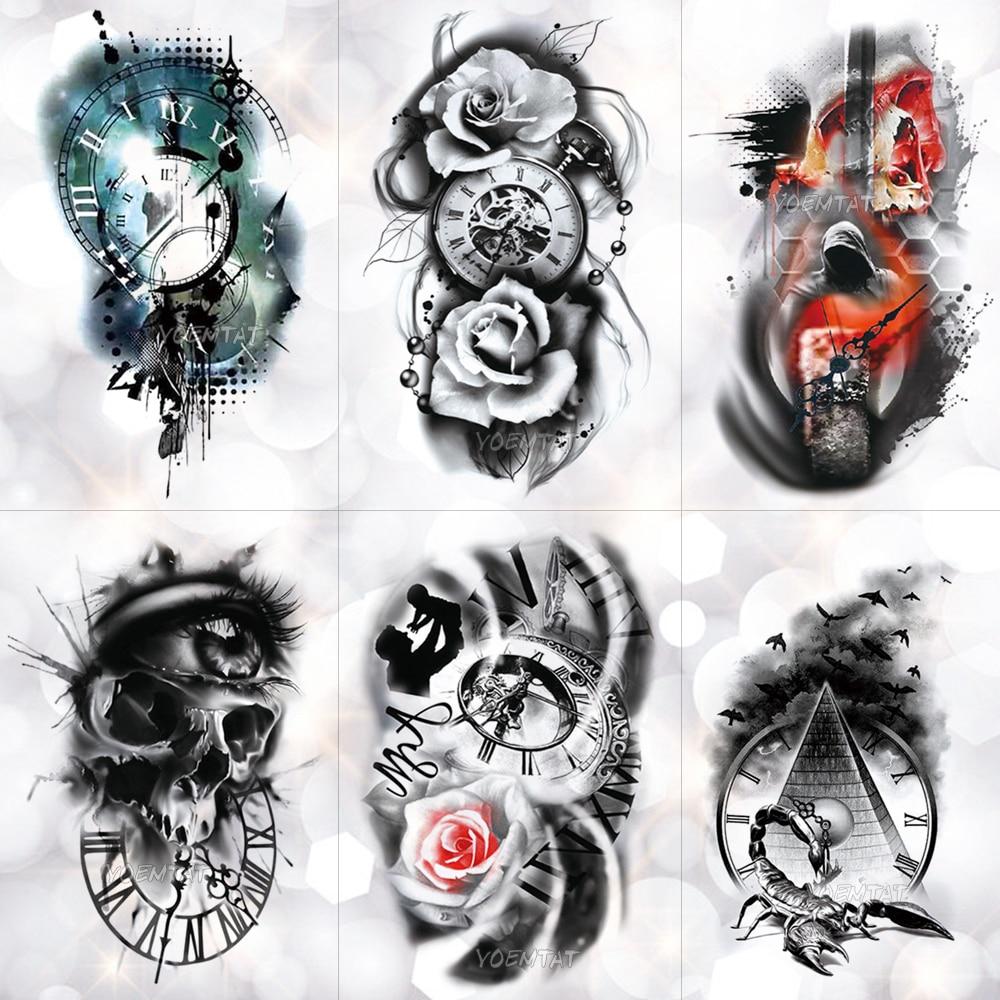 Family Rose Time Clock Skull Temporary Tattoo Sticker Scorpion Tower Waterproof Tattoos Body Art Arm Fake Tatoo Men