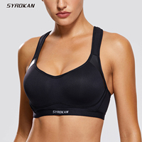 SYROKAN Women's High Impact Cross back Full Coverage Sports Bra with Integrated Wire