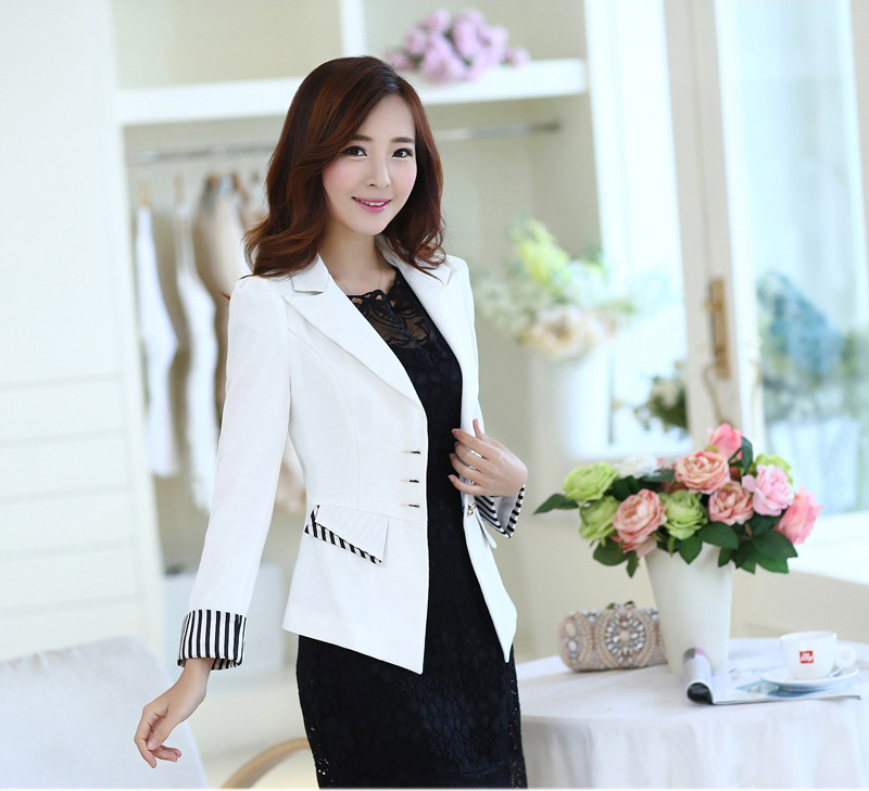 C67086 Autumn Women Slim Blazer Coat Plus Size Casual Jacket Long Sleeve One Button Suit Lady Blazers Work Wear