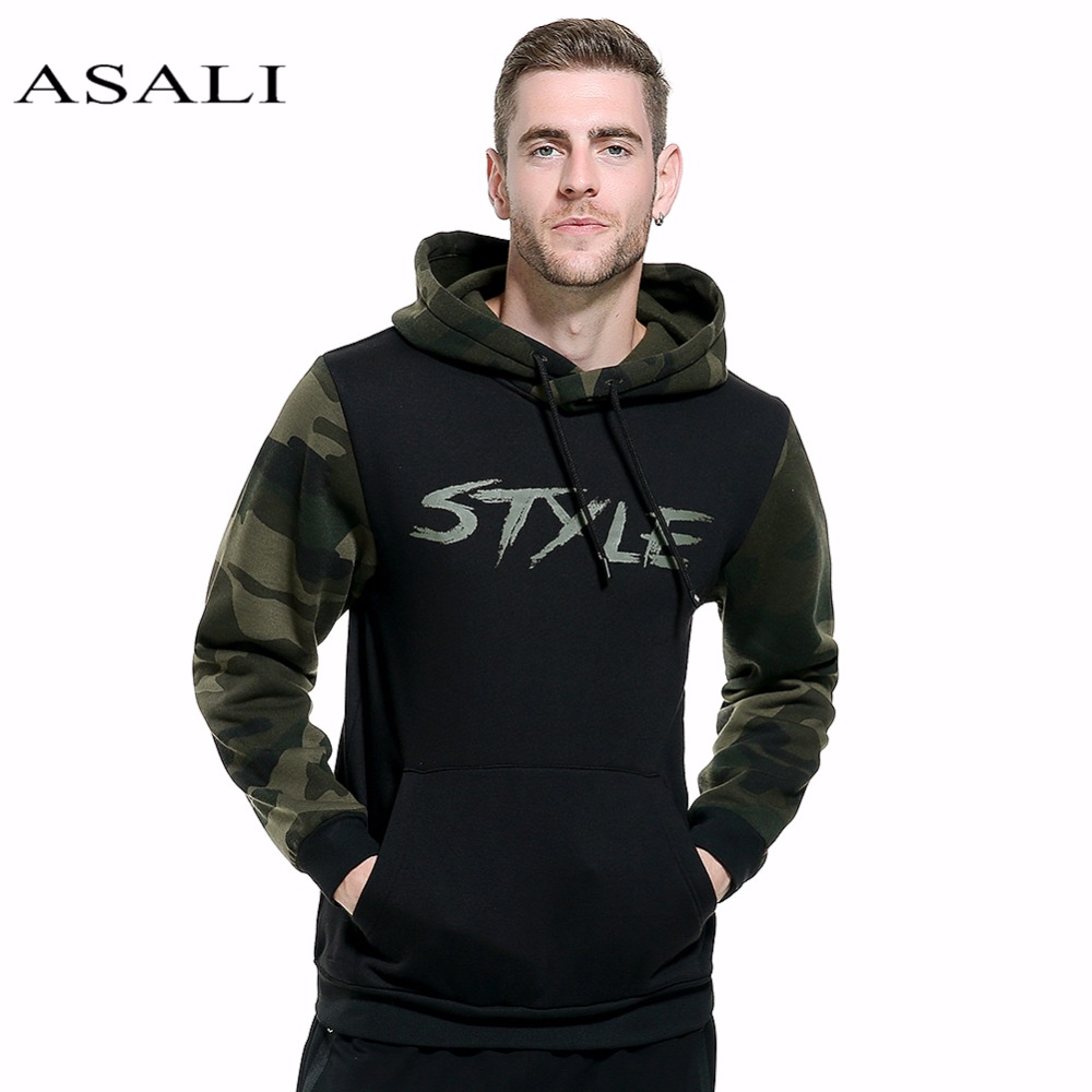 ASALI 2017 Shirts Hommes Hoodies Avec Le Chapeau Style D'impression Automne Hiver Lâche Camouflage Patchwork Casual Survêtement Mâle NOUS 2XL