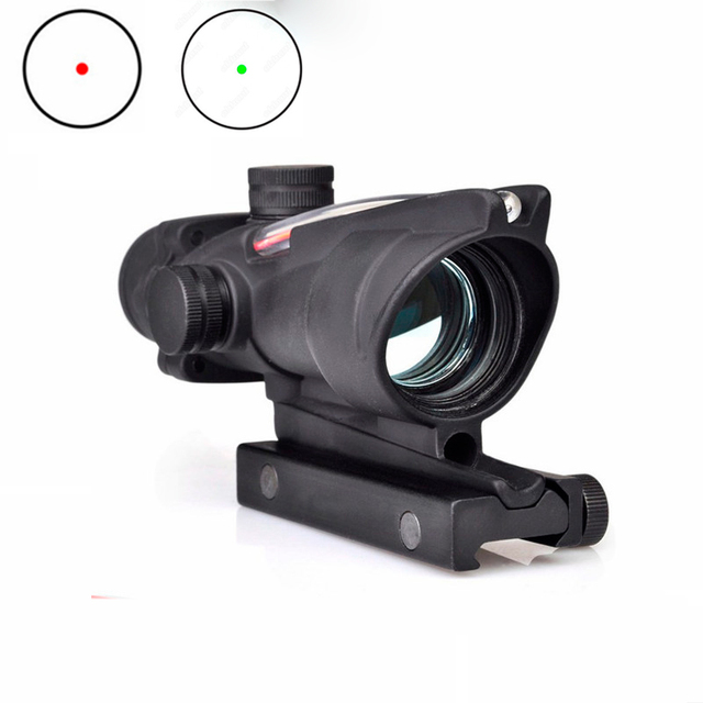 Tactical Sight ACOG Type 1X32 Red Dot Sight Scope with Illumination Source Fiber with 22mm Mount Airsoft Riflescope