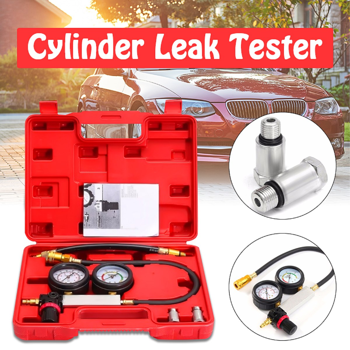 Universal 0-100PSI Cilindro Leak Tester Detector de Vazamento de Compressão Conjunto Kit Motor A Gasolina Ferramenta Calibre Calibre Duplo Sistema