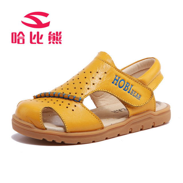 03bf54e2a941cc Children Genuine Leather Sandals Summer Boys and Girls Toe Cap Covering  Shoes Cowhide Beach Sandals for Designer Toddler sandals
