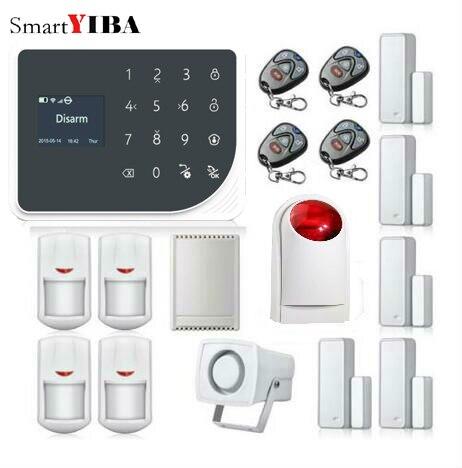 SmartYIBA APP Control Touch Alarm Panel WIFI GSM Alarmes+Relay out Door Open/Close Sensor Alarm Loudly Red Strobe Siren Kits