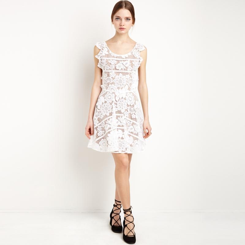 HDY 2018 Women Lace Dresses Sexy Backless Crisscross Lace Crochet Sheer Dress Cut Out Sweet Elegant Midi Dress White Vestidos 7
