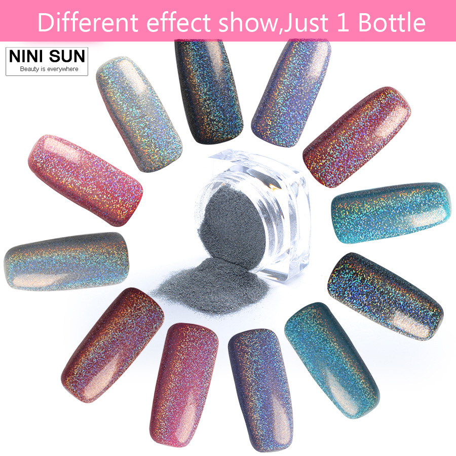 2g Box Holographic Laser Nail Glitter Powder Rainbow Pigment Manicure Chrome Pigments Holo Tip Art Decoration In From Beauty