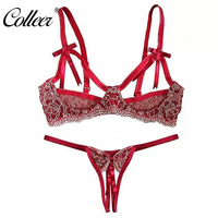 COLLEER Fashion Design Brand Women Demi Bra Set Floral Lace Embrodiery Underwired Bra And Panty Set