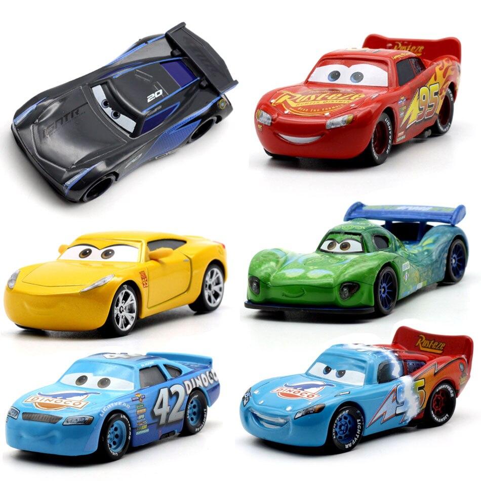 Disney 18 Стиль Pixar Cars 3 Молния Маккуин Джексон Storm dinoco Крус Рамирес 1:55 Diecast металла Игрушечные лошадки модель автомобиля на день рождения подарок