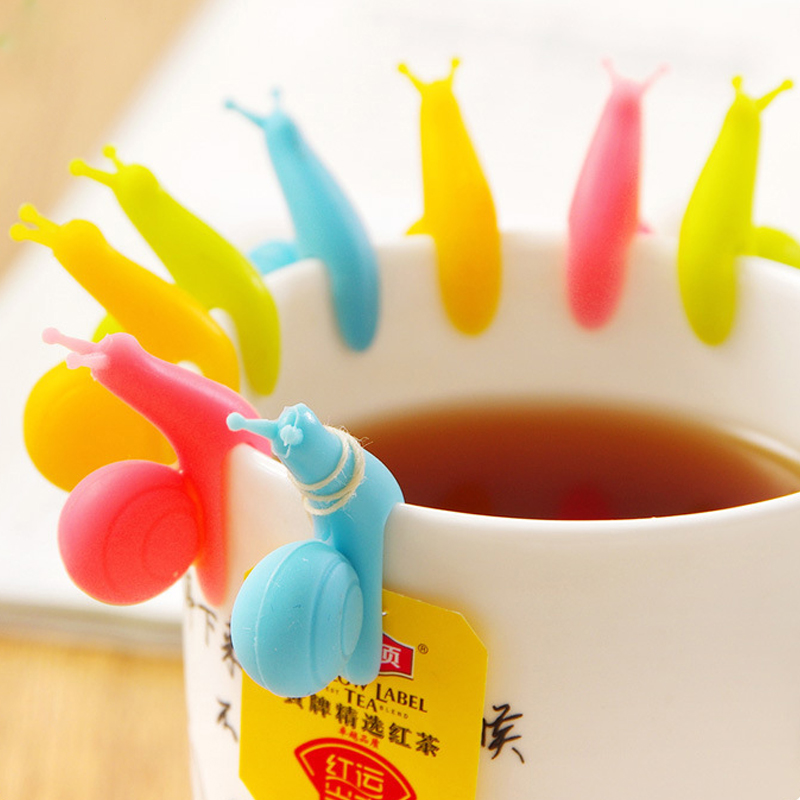 5pcs/lot Cute Snail Shape Silicone Tea Bag Cup Distinguish Clip Candy Color Party Birthday Gift Set Random Color Household Items