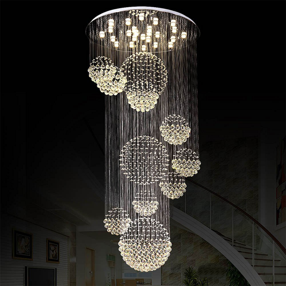 Z Modern LED Clear K9 Crystal Large Chandelier For Double Staircase And Hotel Engineering Light Villa livingroom Hanging Lamp